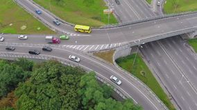 Car traffic busy city highway, peak hour view from above. Stock footage stock video footage