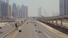 Car traffic in Dubai. Traffic goes through the streets of Dubai stock video