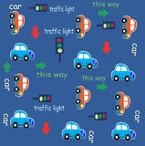 Car Traffic fun cartoon Pattern Royalty Free Stock Photo