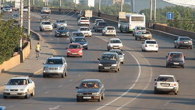Car traffic. Highway. Highway traffic. Cars and trucks on freeway. Road assistance stock video footage