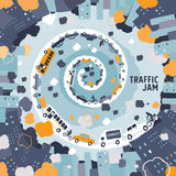 Car traffic jam concept - freehand drawing Stock Image