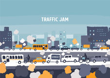 Car traffic jam. Freehand drawing vector Illustration royalty free illustration
