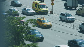 Car traffic jam on the highway. Of Moscow stock footage