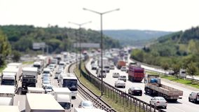 Car traffic jam on the highway time lapse. Car traffic jam on the highway 1920x1080 timelapse stock footage