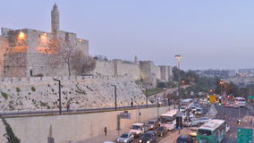 Car traffic in Jerusalem, Israel stock footage