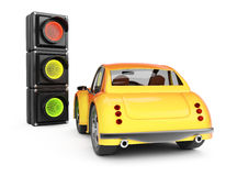 Car and traffic light. On white background. 3d rendering image Royalty Free Stock Images