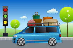 Car in traffic with luggage. Illustration of car in traffic with luggage with tree Stock Photo