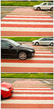Car traffic on pedestrian crossing Royalty Free Stock Photos