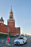 Car of the traffic police on duty near the Kremlin. Car of the traffic police on duty near the Spassky Tower of Moscow Kremlin at the entrance to the Red Square Stock Photography