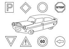Car and traffic signs - coloring book Royalty Free Stock Photo