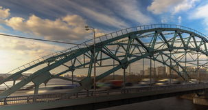Car traffic on the steel bridge stock video