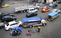 Car traffic on the streets in Manila Royalty Free Stock Photo
