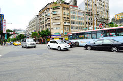 Car traffic on the streets of Zhongzheng, Taipei Royalty Free Stock Images