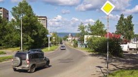 Car traffic in summer city, timelapse stock video