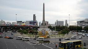 Car traffic victory monument bangkok stock footage