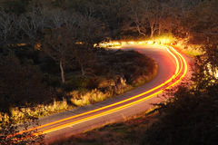 Car trail in night road Stock Photography