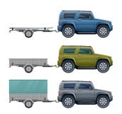Car with trailer. On a white background vector illustration
