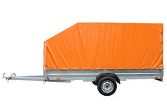 Car trailer with canvas awning isolated on white background. Royalty Free Stock Photos
