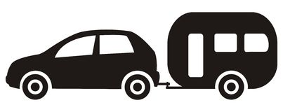 Car and trailer vector illustration