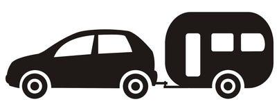 Car and trailer. Caravan. Black silhouette with window, vector icon vector illustration