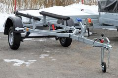 Car trailer for transportation of boats. Stock Images