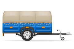 Car trailer for the transportation of goods vector illustration. On white background stock illustration