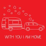 Car, trailer. Valentine\'s day, wedding. Romantic. Vector illustration with car driven trailer. Motorhome. Inscription With you I am home. Valentine\'s day vector illustration