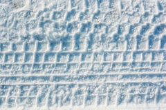 Car trails in fresh snow Royalty Free Stock Image