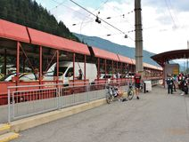 The car train going through the Tauern Railway Tunnel. The train ride from Mallnitz-Obervellach to Böckstein Bahnhof through the Tauern Railway Tunnel in Stock Images