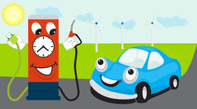 Car transition from fuel to electricity concept stock illustration