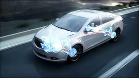 Car transmission. X ray. Car on highway. Realistic 4k animation. stock illustration