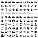 100 car and transport icons. 100 car and transport icons, black and white vector set Royalty Free Stock Images
