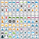 100 car and transport icons. 100 car and transport icons, color vector set Stock Photo