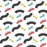 Car transport with road seamless pattern. Isolated on a white background in  flat  style royalty free illustration