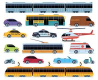 Car transport set. Vehicles city transportation. Cars trucks scooters motorcycle bus. Side view auto isolated vector set vector illustration