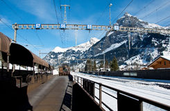 The car transport train between Kandersteg and Goppenstein Royalty Free Stock Photography