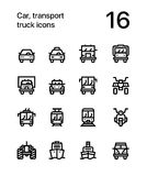 Car, transport, vehicle, truck, train vector flat line icons for web and mobile applications. 16 line black and white vector icons Stock Photos