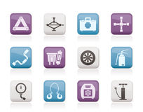 Car and transportation equipment icons Royalty Free Stock Photos