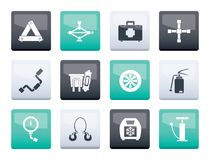 Car and transportation equipment icons over color background. Vector icon set royalty free illustration