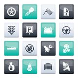 Car and transportation icons over color background. Vector icon set royalty free illustration