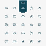 25 car and transportation minimal line icons Stock Images