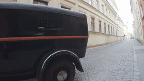 Car for transportation of suspects and accused persons. RUSSIA, SAINT PETERSBURG, JULY, 2016: Shooting the series and St Petersburg stands on the street Avtozak stock video