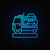 Car transporter blue icon. Vector colorful car carrier concept outline sign or logo element on dark background Stock Photos