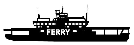 Car Transporter Ferry. Silhouette of a typical car transporter ferry on a white background Stock Photo