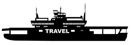 Car Transporter Ferry Transport. Silhouette of a typical car transporter ferry on a white background with the text travel Royalty Free Stock Photography