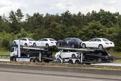 Car transporter on the highway Stock Image