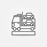 Car transporter icon. Vector minimal car carrier concept symbol or design element in thin line style Stock Photography