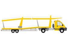 Car transporter. Silhouette of yellow car transporter on a white background Stock Images