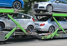 Car transporter trailer Royalty Free Stock Images