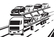 Car transporter truck on highway. Vector illustration Royalty Free Stock Image